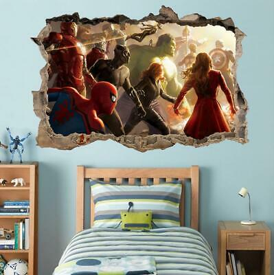 Avengers End Game 3D Smashed Wall Sticker Decal Decor Art Mural Marvel J1412