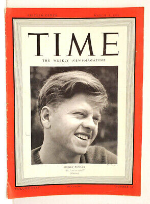 Mar 18,1940 TIME Magazine- Mickey Rooney on cover- Radio Personalities- VG