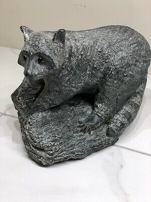 WE A Wolf Original Sculptures Large Racoon Figurine Hand Made in Canada