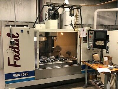 "USED FADAL VMC-4020HT CNC VERTICAL MILL 1993 40.20.28"" Fourth Axis Box Ways"