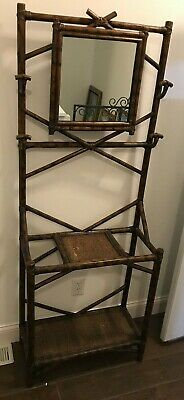 Chinoiserie Bamboo Hall Tree Coat and Umbrella Stand Rack With Mirror