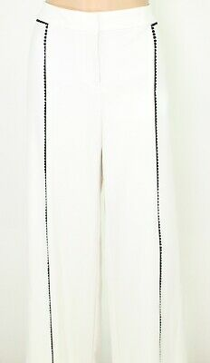 Alfani Womens Dress Pants Ivory White Size 12 Crochet-Trim Wide-Leg $74 590