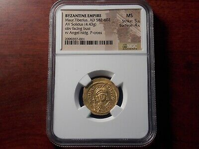 AD 582-602 Byzantine Empire Maur. TIBERIUS Gold Solidus coin NGC MS 5/5 4/5 Nice