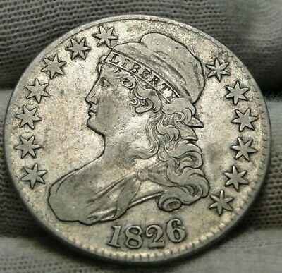 1826 Capped Bust Half Dollar 50 Cents - Nice Coin, Free Shipping (9056)