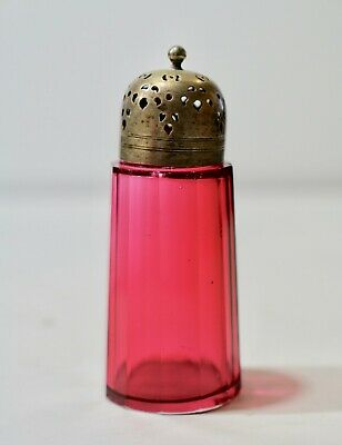 Antique Victorian Cranberry Glass  Sugar Shaker