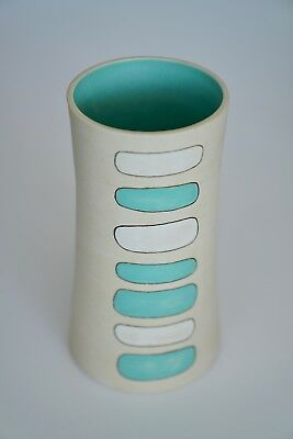 Scandinavian MCM Design Art Pottery Signed Paulova Vase Turquise & Ivory Color