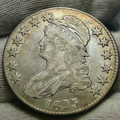 1825 Capped Bust Half Dollar 50 Cents - Nice Coin Free Shipping (9093)