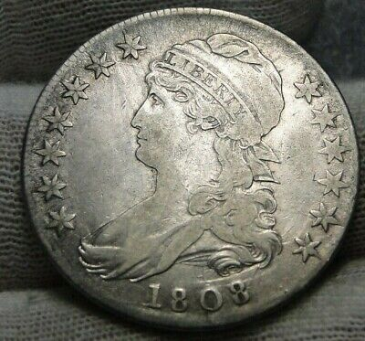 1808 Capped Bust Half Dollar 50 Cents - 109A R3, Nice Coin Free Shipping (9096)