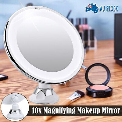 White 10x Magnifying Vanity Makeup Beauty Bathroom Mirror With LED Light AUS