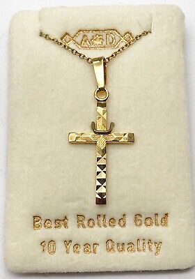 Vintage Ladies 9Ct Rolled Gold Plated Religious Cross Pendant Necklace Nos