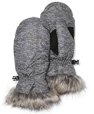 NWT - EDDIE BAUER Women's 'LODGE DOWN' Smoke Grey FAUX FUR MITTENS - S / M
