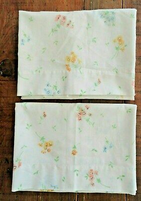 VTG JC Penney Pair Standard Size Muslin Perm Press Pillowcases Floral Yello Blue