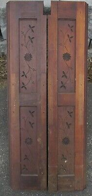 """Carved VICTORIAN WALNUT PANELS lot of 2 PROJECT PIECES 10 1/2"""" wide x 49"""" high"""