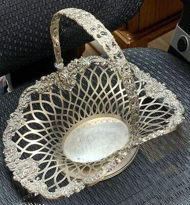 Antique Sterling Silver Basket by J E Caldwell Floral Pattern 841 Grams GORGEOUS