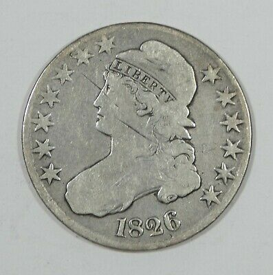 BARGAIN 1826 Capped Bust/Lettered Edge Half Dollar VERY GOOD Silver 50c