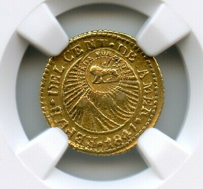 Costa Rica 1847 CR-JB Gold 1/2 Escudo, Central America, NGC AU, counter stamped