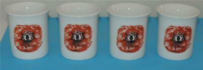 Vintage Four Red Chow Chow Porcelain Cups