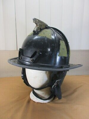 Vintage Black Morning Pride Fire Safety Rescue Helmet with Eagle Size 6 to 9.5