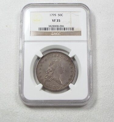 """1795 Flowing Hair Half Dollar NGC VF 35 O-113 """"A over E in States"""" Silver 50c"""