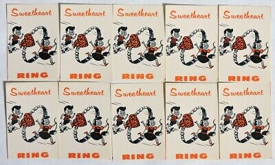 ESAR3651. VINTAGE: Lot of 10: SWEETHEART RING Vending Machine Ad Pieces (1960's)