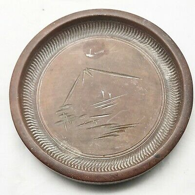 Antique Wood Wooden Carved Chinese Mountain Mt Everest Coaster Pin Dish