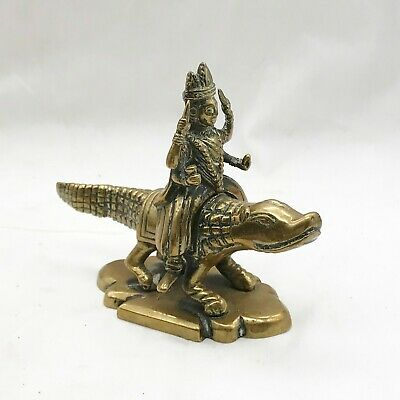 Antique Hindu Indian River Goddess Ganga On Crocodile Brass Figure Ornament