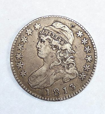 BARGAIN 1813 Capped Bust/Lettered Edge Half Dollar XF Silver 50-Cents