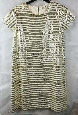 French Connection Girls Young Ladies Gold Sequin Cream Dress Size 12-13 Years