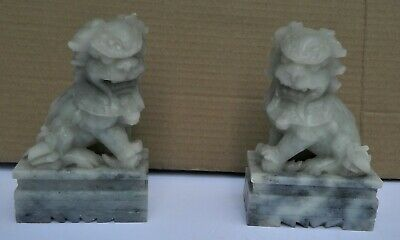 Vintage Pair Carved Chinese Soapstone Foo jade-tone Lion Dogs Figures
