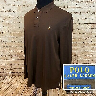 POLO RALPH LAUREN Mens Long Sleeve Polo Pima Cotton Soft Touch  Brown XL