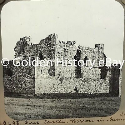 Antique Piel Castle Barrow In Furness Real Photograph Slide Glass