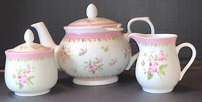 ANNIE ROSE Ashdene Shabby Chic Teapot Set w/ Strainer Creamer Sugar Unused Mint
