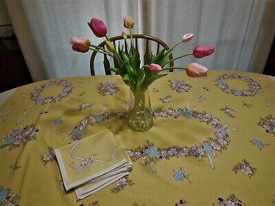 Vintage LEACOCK RIBBONS & WREATH Tablecloth Set Soft Mustard Yellow Bows