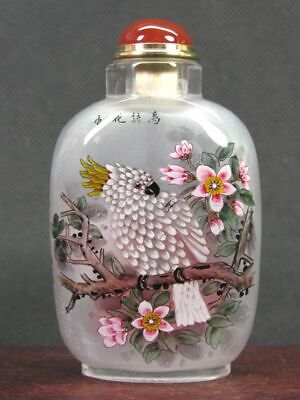 Chinese Collectible Glass inside painted Handmade Plum blossom Snuff Bottle 2