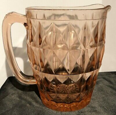 Pink depression Glass Pitcher Windsor pattern made from 1932 to 1946 Jeanette