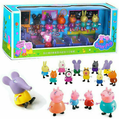 Peppa Pig Theme Toys Classroom Set Piggy George Family Friends Action Figures