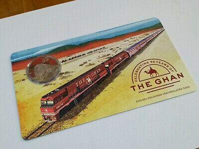 2019 90th Anniversary of the Ghan 50c Coloured Carded Coin