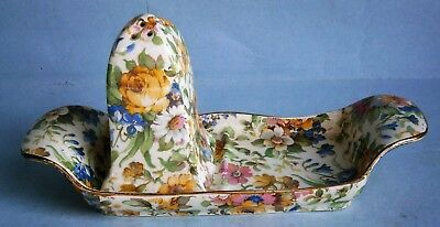 """Bedale"" Chintz Pattern Salt & Pepper Tray made in England by Royal Winton"
