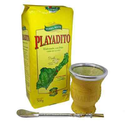 Yerba Mate Playadito Starter Kit with Leather Bound Glass Mate Cup and Bombilla