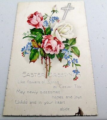 Vintage Easter Greetings Relgion Card Postcard Antique