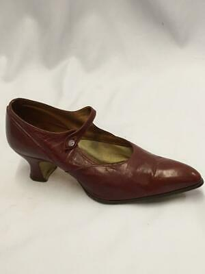 Vintage 1920s  Red Leather  Mary Jane Shoes Flapper Size 5 flapper Charleston