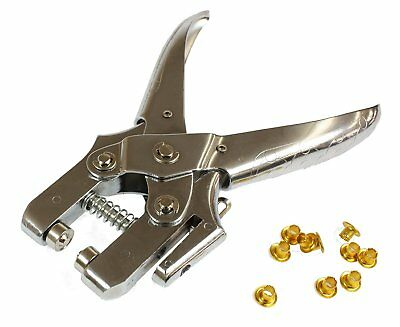 Heavy Duty Eyelet Pliers Hole Punch Tool w 100 Eyelets / Grommets Brass Leather