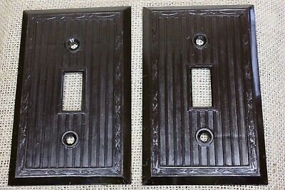 2 single Switch Plates brown vintage Bakelite plastic OLD RELIANCE USA
