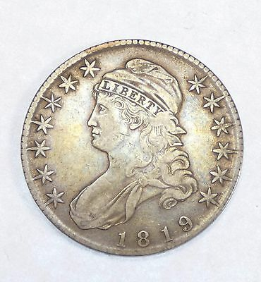 1819 Capped Bust/Lettered Edge Half Dollar EXTRA FINE Silver 50c