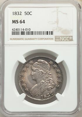 1832 US Silver 50C Capped Bust Half Dollar - NGC MS64