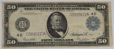 1914 $50 Federal Reserve Note Cleveland Fr#1039-A Very Fine (472A)