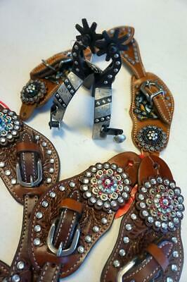 Combo:Youth Western Brown Studs Engraved Spurs & Straps-Med W/ Pink Blue Black