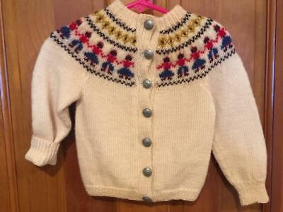 WILLIAM SCHMIDT OSLO Hand Knitted Wool Norway Toddler Cardigan Sweater Vtg