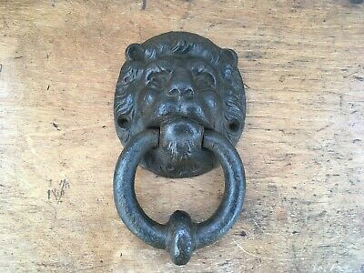 LOVELY LARGE HEAVY ANTIQUE CAST IRON LIONS HEAD DOOR KNOCKER 7.5 inches