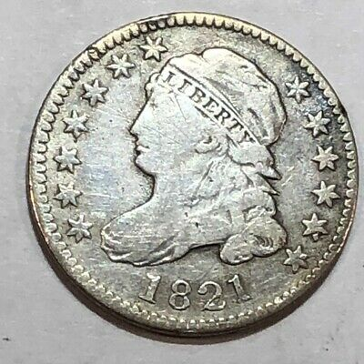 1821 Fine Capped Bust US silver dime, scuffy. (lot#fc)